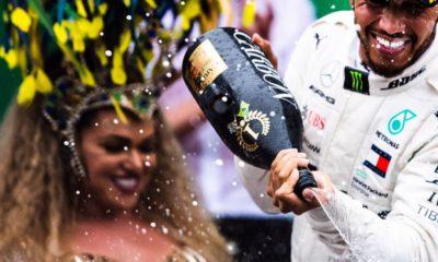 Rainha de Bateria Andréa Capitulino e Lewis Hamilton - Foto Reproducao Internet